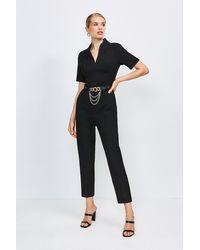 Karen Millen Forever Chain Belt Jumpsuit - Black