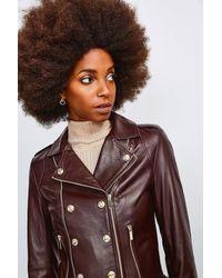 Karen Millen Military Leather Biker - Brown