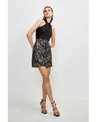Karen Millen Italian Floral Jacquard A Line Skirt - Grey