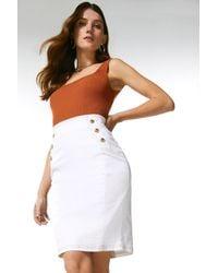 Karen Millen Denim Military Button Skirt - White