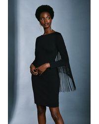 Karen Millen Italian Structured Jersey Fringe Dress - Black