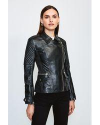 Karen Millen Chunky Zip Quilted Leather Biker Jacket - Black