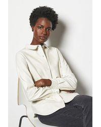 Karen Millen Leather Shirt Ivory - White