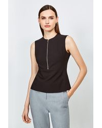Karen Millen Zip Front Sharp Seam Top - Black