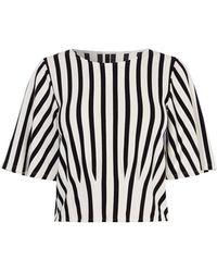 Karen Millen - Striped Cropped Tee - Lyst