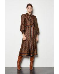 Karen Millen Jacquard Shirt Dress Multi - Brown