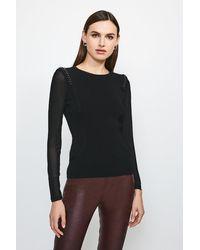 Karen Millen Chain Shoulder Mesh Sleeve Knitted Top - Black