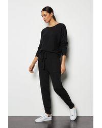Karen Millen Knit Soft Yarn Cuffed Joggers Black