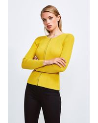 Karen Millen Knitted Rib Zip Though Cardigan - Yellow