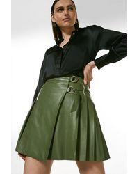 Karen Millen Leather Pleated Buckle Kilt Skirt - Green