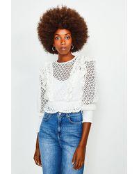 Karen Millen Cutwork Long Sleeve Frill Top - White