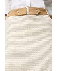 Karen Millen Tweed And Contrast A Line Skirt - White