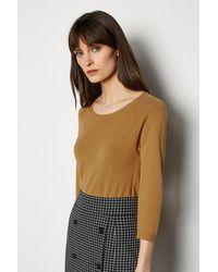 Karen Millen 3/4 Sleeve Fine Knit Jumper - Brown