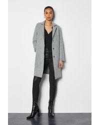 Karen Millen - Textured Wool Coat Grey - Lyst