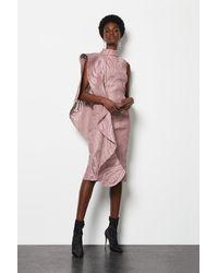 Karen Millen Lace Ruffle One Shoulder Midi Dress Pink, Pink/blush