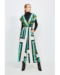 Karen Millen Italian Scarf Print Jumpsuit - Green