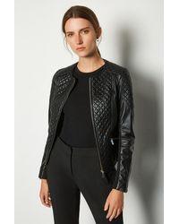 Karen Millen Leather Quilted Biker Jacket - Black