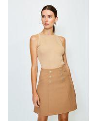Karen Millen Military Button Mini Skirt - Natural