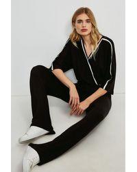 Karen Millen Lounge Rib Trim Wrap Jersey Jumpsuit - Black