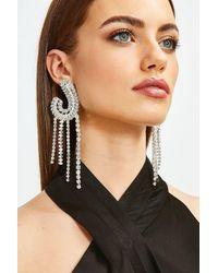Karen Millen Statement Diamante Drop Earrings - Metallic