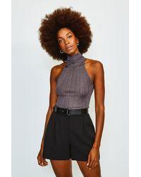 Karen Millen Forever Belted Shorts - Black