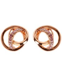 Karen Millen - Crystal Ribbon Stud - Rose Gold Colour - Lyst