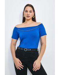 Karen Millen Curve Chain Detail Jersey Bardot Top - Blue