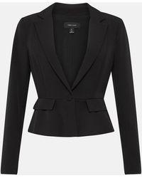 Karen Millen Tailored Crop Peplum Blazer Black