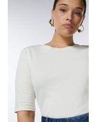 Karen Millen Curve Cotton Jersey Crew Top - White