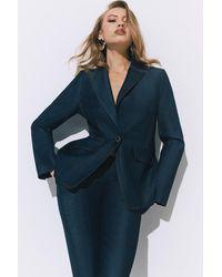 Karen Millen Tailored Denim Blazer - Blue