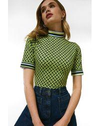 Karen Millen Half Sleeve Funnel Neck Mono Print Jersey Top - Yellow