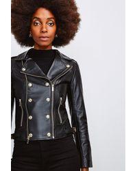 Karen Millen Military Leather Biker - Black