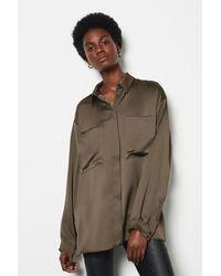 Karen Millen Satin Utility Shirt - Brown