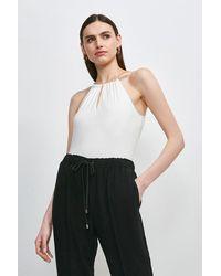 Karen Millen Chain Neck Halter Viscose Jersey Top - White
