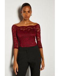 Karen Millen Off The Shoulder 3/4 Sleeve Lace Body - Red