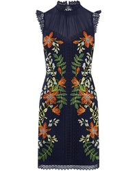 Karen Millen - Embroidered Sleeveless Dress - Lyst