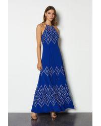 Karen Millen Diamond Lace Dress Blue
