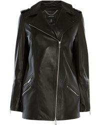 Karen Millen - Longline Leather Jacket - Lyst