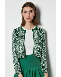 Karen Millen Animal Print Cropped Cardigan - Green