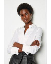 Karen Millen Long Sleeve Tailored Wrap Shirt - White