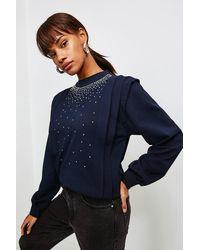 Karen Millen Lounge Diamante Jersey Sweatshirt - Blue