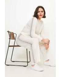 Karen Millen Curve Embellished Knitted Jogger - White