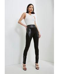 Karen Millen Faux Leather Ponte Panelled Leggings - Black