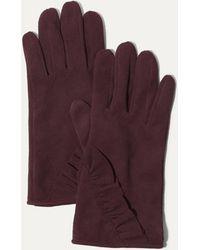 Karen Millen - Suede Frill Gloves - Aubergine - Lyst