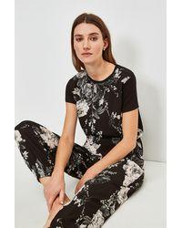 Karen Millen Floral Nightwear Jersey Back Top - Black