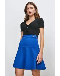Karen Millen Rivet Detail Ponte Mini Skirt - Blue