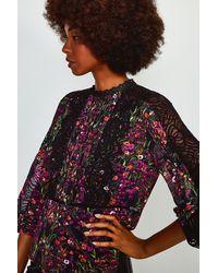 Karen Millen Floral Print Lace Detail Top - Black