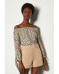 Karen Millen Linen Print Bardot Top - Multicolour