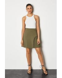 Karen Millen Buckle Detail Pleated Mini Skirt - Green