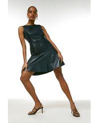 Karen Millen Leather Belted Fit And Flare Dress - Blue